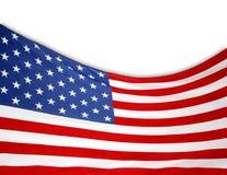 Bandiera di U.S.A. su bianco Fotografia Stock