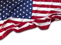 Bandiera di U.S.A. su bianco Immagine Stock