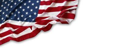 Bandiera di U.S.A. su bianco Fotografie Stock Libere da Diritti