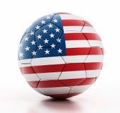Bandiera di U.S.A. su calcio fotografia stock libera da diritti