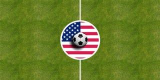 Bandiera di U.S.A. su un centro del campo di calcio illustrazione di stock