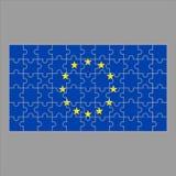 Bandiera di UE dai puzzle su un fondo grigio illustrazione vettoriale