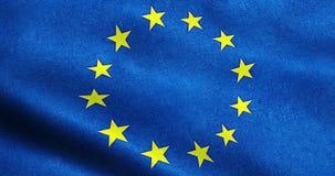 Bandiera di UE, euro bandiera, bandiera di ondeggiamento dell'Unione Europea royalty illustrazione gratis