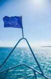 Bandiera di UE sulla nave Fotografia Stock