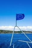 Bandiera di UE sulla nave Fotografia Stock Libera da Diritti