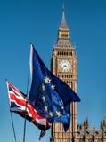 Bandiera di Unione Europea davanti a Big Ben, Brexit UE Immagini Stock