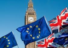 Bandiera di Unione Europea davanti a Big Ben, Brexit UE Immagini Stock Libere da Diritti