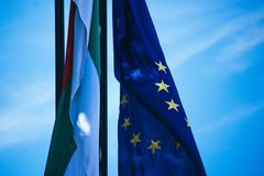 Bandiera di Unione Europea e bandiera della Bulgaria Florida blu dell'Unione Europea fotografia stock