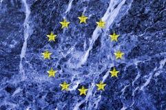 Bandiera di Unione Europea su struttura di marmo Fotografie Stock