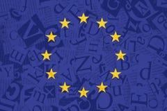 Bandiera di Unione Europea sul fondo di struttura della minestra di alfabeto fotografia stock libera da diritti
