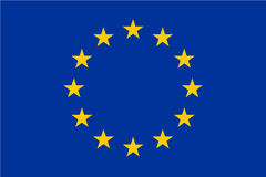 Bandiera di Unione Europea, UE Dodici stelle d'oro su fondo blu Dimensione e colori ufficiali illustrazione di stock