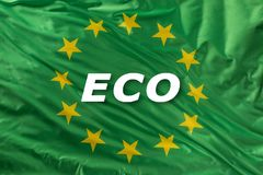 Bandiera di Unione Europea verde come segno di bio- alimento organico o di ecologia immagini stock libere da diritti
