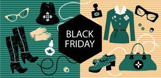 Bandiera di vendita Memoria di modo L'abbigliamento e gli accessori delle donne alla moda con un'insegna nera di venerdì illustrazione vettoriale