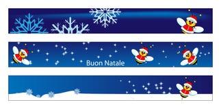 Bandiera di Web di natale con un ape il Babbo Natale illustrazione vettoriale