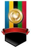 Bandiera dorata della medaglia dei Giochi Olimpici Fotografia Stock