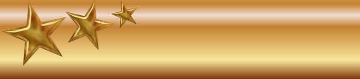 Bandiera dorata delle stelle Fotografia Stock Libera da Diritti