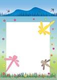 Bandiera e Frame_eps della libellula Fotografie Stock