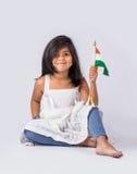 Bandiera e gente indiane Immagine Stock