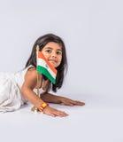 Bandiera e gente indiane Immagine Stock Libera da Diritti