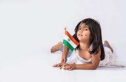 Bandiera e gente indiane Immagini Stock