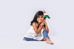 Bandiera e gente indiane Fotografie Stock Libere da Diritti