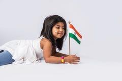 Bandiera e gente indiane Fotografia Stock Libera da Diritti
