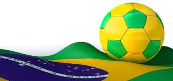 Bandiera e pallone da calcio brasiliani illustrazione vettoriale