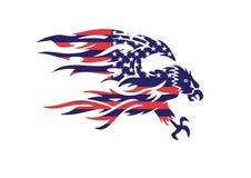 Bandiera Eagle Bald Hawk Vector Logo patriottico di U.S.A. Immagine Stock Libera da Diritti