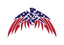 Bandiera Eagle Bald Hawk Vector Logo patriottico di U.S.A. Fotografie Stock Libere da Diritti