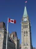 Bandiera ed il Parlamento canadesi Fotografia Stock