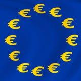 Bandiera dell'eurodivisa Fotografia Stock Libera da Diritti