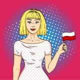 Bandiera felice del polacco della tenuta della ragazza di Pop art che esamina macchina fotografica Imitazione di stile del libro  immagine stock