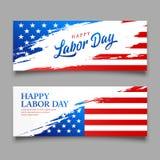 Bandiera felice di festa del lavoro del vettore dell'america, progettazione delle insegne di stile della spazzola royalty illustrazione gratis