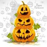Bandiera felice di Halloween con le zucche terribili Immagini Stock