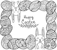 Bandiera felice di Pasqua Il groviglio di zen eggs con gli elementi ornamentali decorativi, i conigli, coniglietto Fotografie Stock