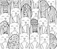 Bandiera felice di Pasqua Uova di Pasqua con gli elementi ornamentali decorativi, conigli, coniglietto Immagine Stock