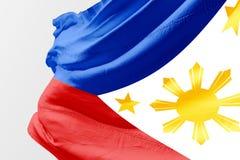 Bandiera filippina isolata che ondeggia tessuto realistico 3d Fotografie Stock