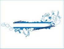 Bandiera floreale blu Fotografia Stock Libera da Diritti
