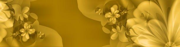 Bandiera floreale in colore giallo ed oro Fotografie Stock Libere da Diritti