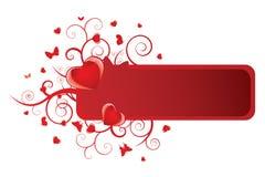 Bandiera floreale del cuore Fotografia Stock