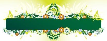 Bandiera floreale verde illustrazione di stock