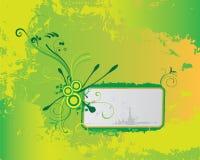 Bandiera floreale verde del grunge fotografie stock libere da diritti