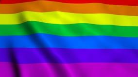 Bandiera gay d'ondeggiamento dell'arcobaleno dell'arcobaleno su vento, contesto della rappresentazione 3d, generato da computer Fotografia Stock