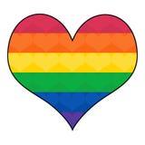 Bandiera gay dell'arcobaleno nella forma del cuore Fotografia Stock Libera da Diritti