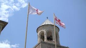 Bandiera georgiana nel cielo stock footage