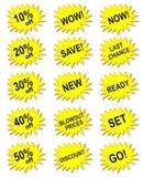 Bandiera gialla di vendita Fotografia Stock