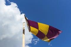 Bandiera gialla e porpora su un'insegna che ondeggia contro il vento sulla a immagini stock