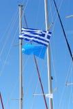 Bandiera greca sull'yacht Immagini Stock