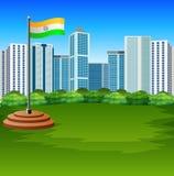 Bandiera indiana del fumetto che fluttua con il fondo urbano illustrazione di stock