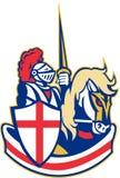 Bandiera inglese di Riding Horse England del cavaliere retro Fotografia Stock Libera da Diritti
